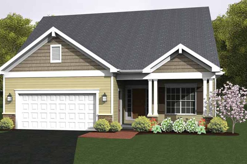 Ranch Exterior - Front Elevation Plan #1010-22