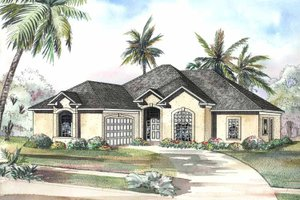Dream House Plan - Mediterranean Exterior - Front Elevation Plan #17-3178