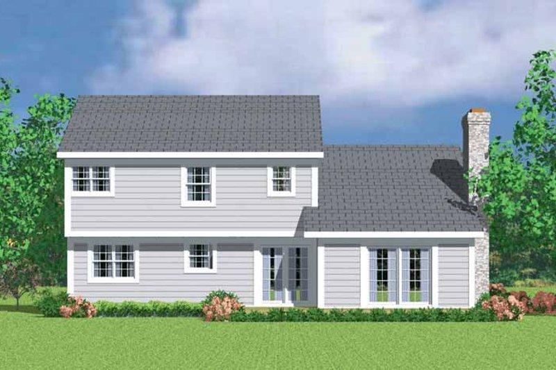 House Blueprint - Colonial Exterior - Rear Elevation Plan #72-1072