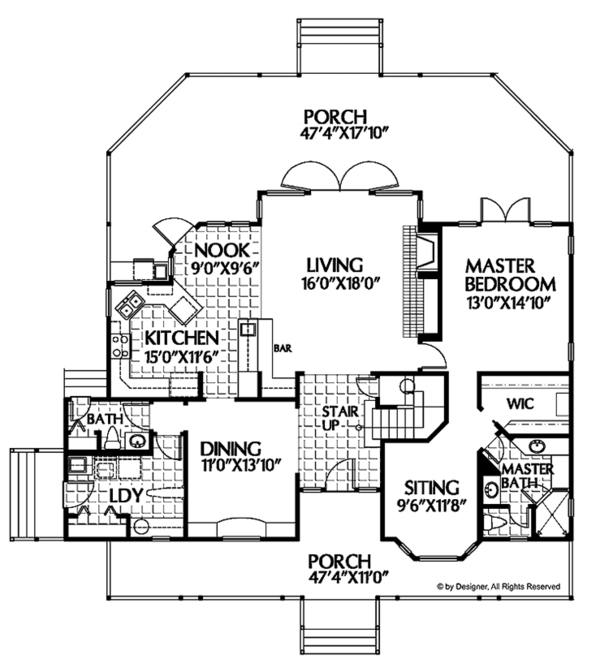 Country Floor Plan - Main Floor Plan Plan #999-28