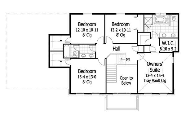 Colonial Floor Plan - Upper Floor Plan #51-417