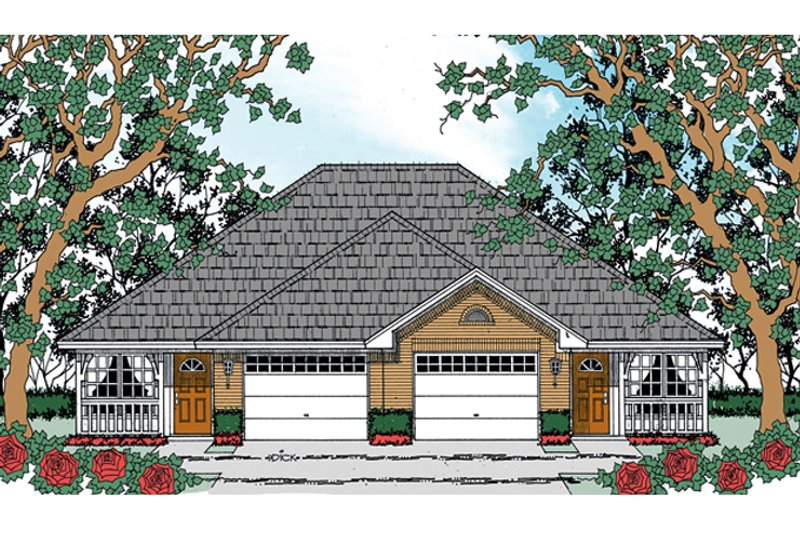 Traditional Exterior - Front Elevation Plan #42-727 - Houseplans.com