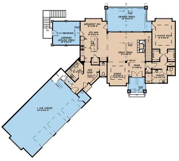 Craftsman Floor Plan - Main Floor Plan Plan #17-3397