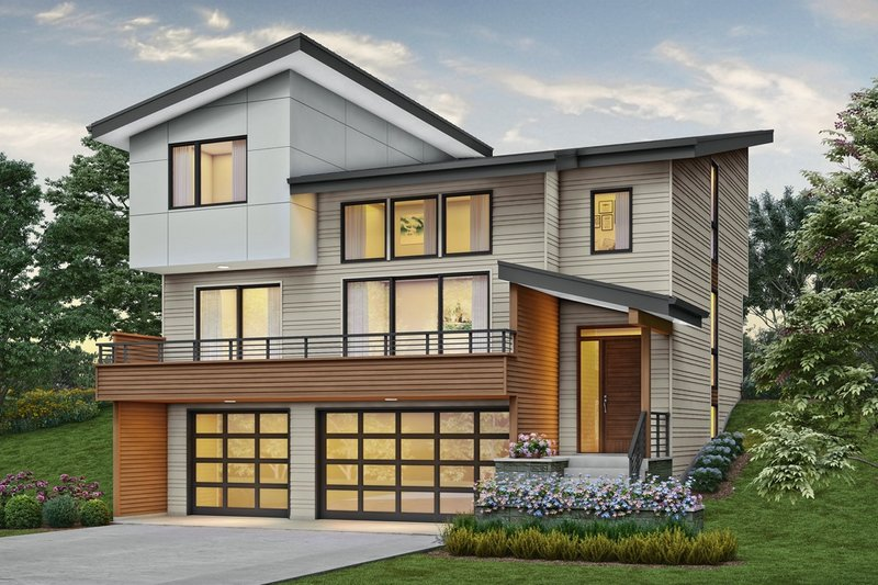 Contemporary Style House Plan - 3 Beds 2.5 Baths 2437 Sq/Ft Plan #48-1009 Exterior - Front Elevation