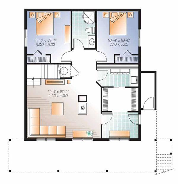 Architectural House Design - European Floor Plan - Lower Floor Plan #23-2488