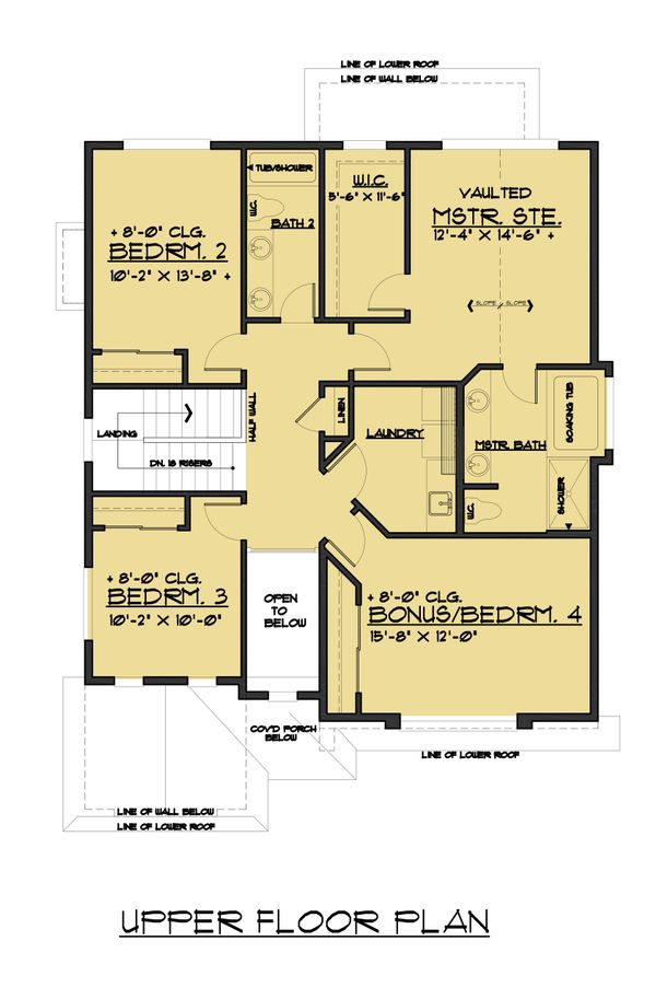 Colonial Floor Plan - Upper Floor Plan Plan #1066-77