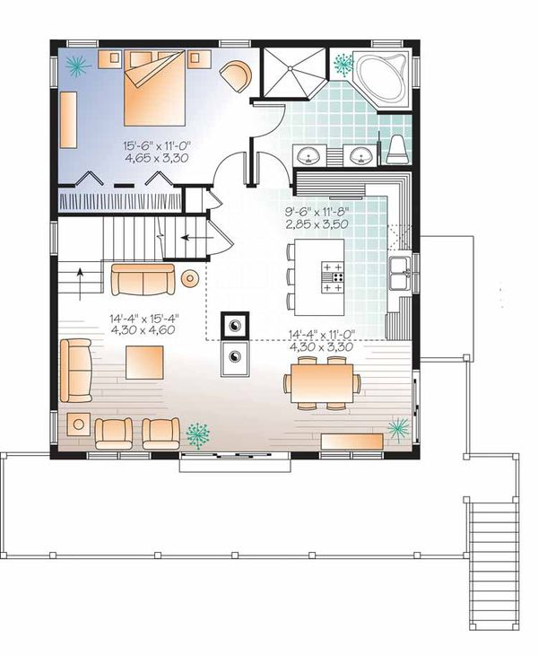 European Floor Plan - Main Floor Plan Plan #23-2488