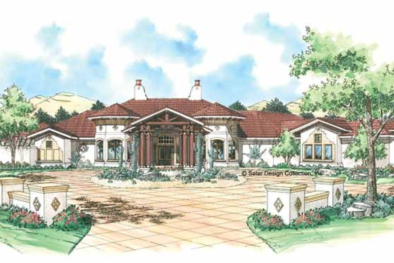 Mediterranean Exterior - Front Elevation Plan #930-310
