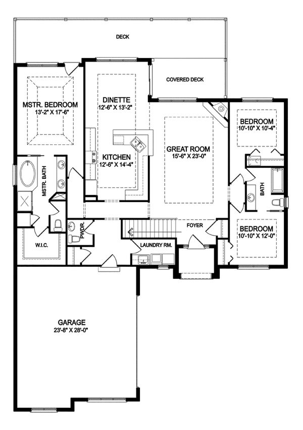 Traditional Floor Plan - Main Floor Plan Plan #1057-4