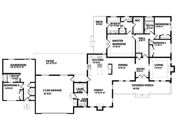 Ranch Floor Plan - Main Floor Plan Plan #515-14