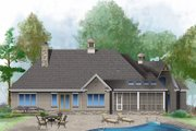 Country Style House Plan - 3 Beds 3.5 Baths 3322 Sq/Ft Plan #929-1006 Exterior - Rear Elevation