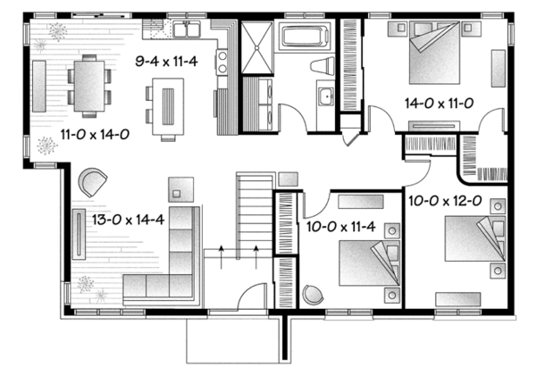 Contemporary Floor Plan - Main Floor Plan Plan #23-2567