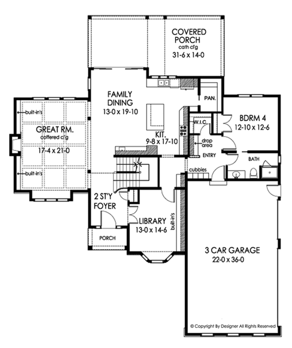 Traditional Floor Plan - Main Floor Plan Plan #1010-205