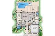 Mediterranean Style House Plan - 4 Beds 4.5 Baths 5232 Sq/Ft Plan #27-562