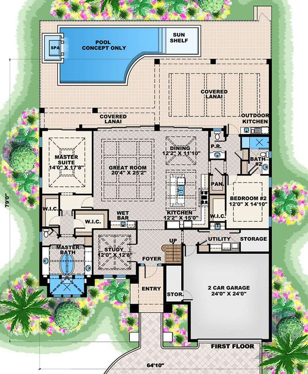 Mediterranean Floor Plan - Main Floor Plan Plan #27-562