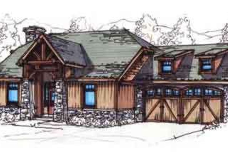 Craftsman Style House Plan - 3 Beds 2 Baths 1282 Sq/Ft Plan #17-2258 Exterior - Front Elevation