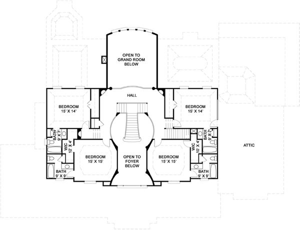 Southern Floor Plan - Upper Floor Plan #119-198