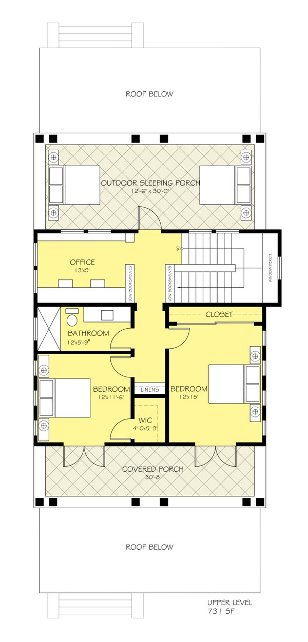 Craftsman Floor Plan - Upper Floor Plan Plan #888-12