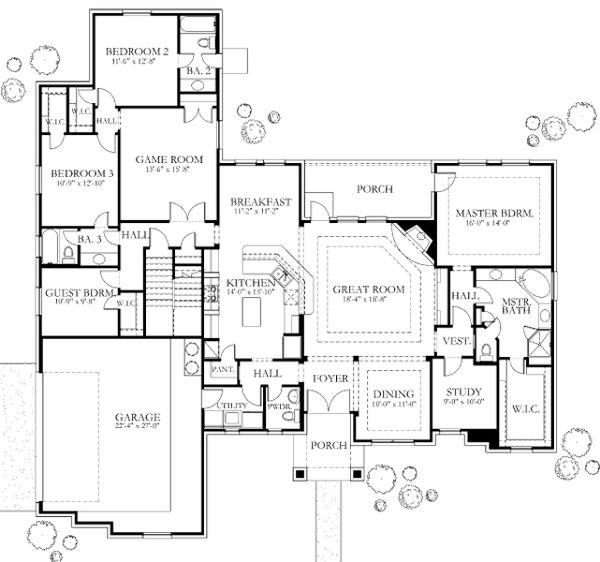 European Floor Plan - Main Floor Plan Plan #80-182