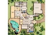 Mediterranean Style House Plan - 3 Beds 3 Baths 4070 Sq/Ft Plan #548-1 Floor Plan - Main Floor Plan