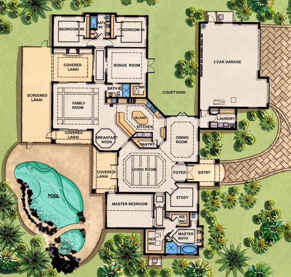 Mediterranean Floor Plan - Main Floor Plan Plan #548-1