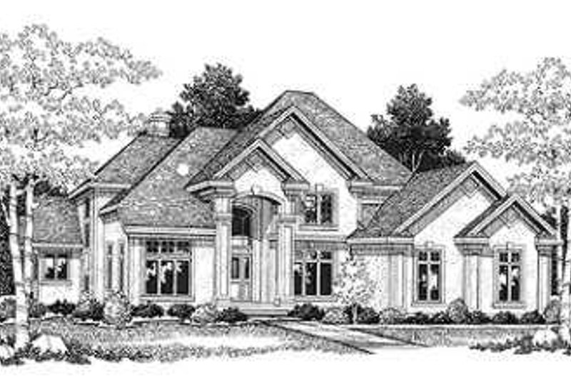 European Style House Plan - 4 Beds 3.5 Baths 4029 Sq/Ft Plan #70-545 Exterior - Front Elevation