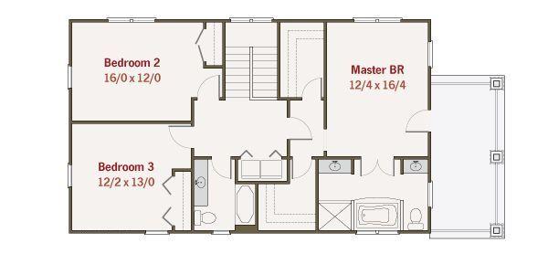 Craftsman Floor Plan - Upper Floor Plan Plan #461-34