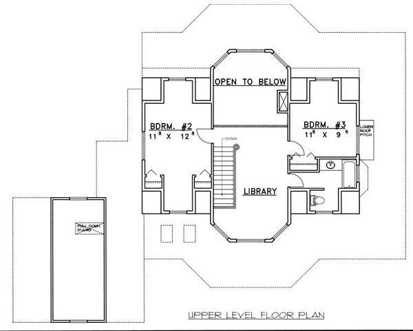 Bungalow Floor Plan - Upper Floor Plan Plan #117-539