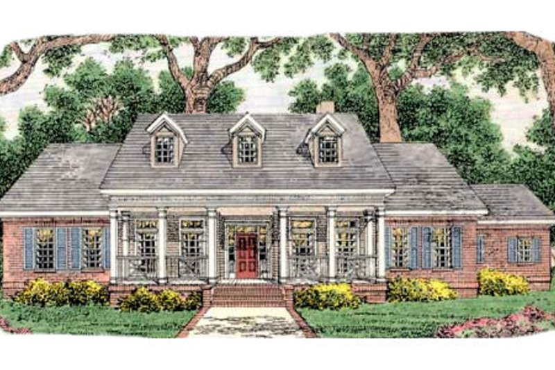 Southern Exterior - Front Elevation Plan #406-267