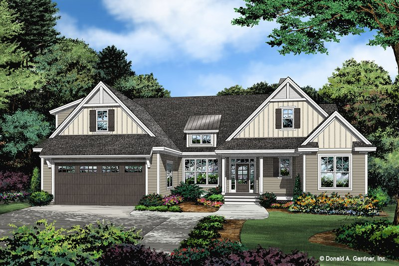 Ranch Exterior - Front Elevation Plan #929-1109