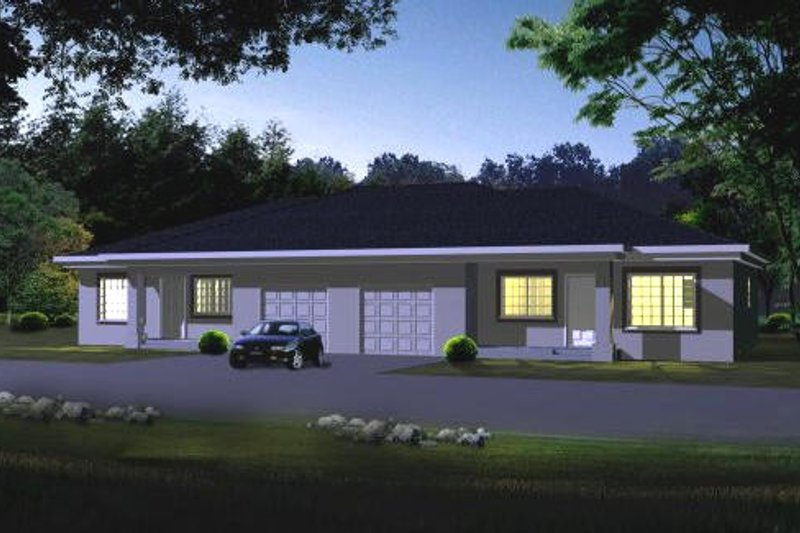 Ranch Style House Plan - 2 Beds 2 Baths 1980 Sq/Ft Plan #1-805 Exterior - Front Elevation