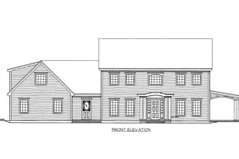 Traditional Style House Plan - 4 Beds 2.5 Baths 3307 Sq/Ft Plan #117-795 Exterior - Front Elevation