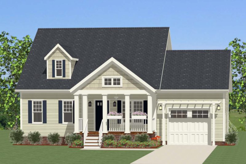 Cottage Exterior - Front Elevation Plan #898-25