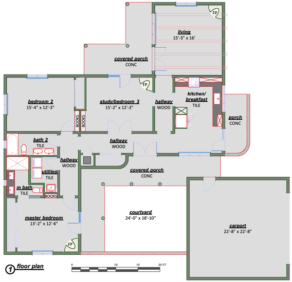 Adobe / Southwestern Floor Plan - Main Floor Plan Plan #450-9