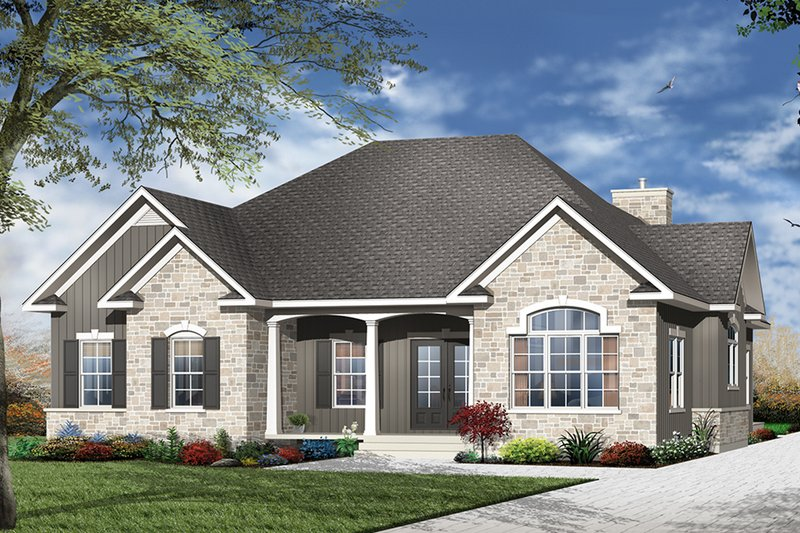 European Exterior - Front Elevation Plan #23-529