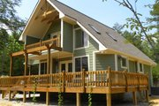 Cabin Style House Plan - 3 Beds 2 Baths 1370 Sq/Ft Plan #118-113 Exterior - Rear Elevation