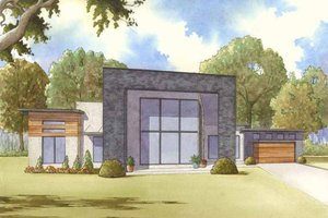 House Blueprint - Contemporary Exterior - Front Elevation Plan #17-2603
