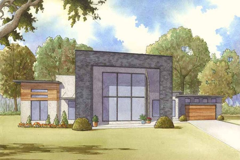 Dream House Plan - Contemporary Exterior - Front Elevation Plan #17-2603