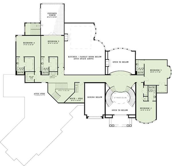 European Floor Plan - Upper Floor Plan Plan #17-3401
