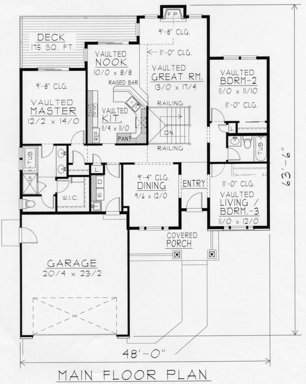 House Plan Design - Craftsman Floor Plan - Main Floor Plan #112-162