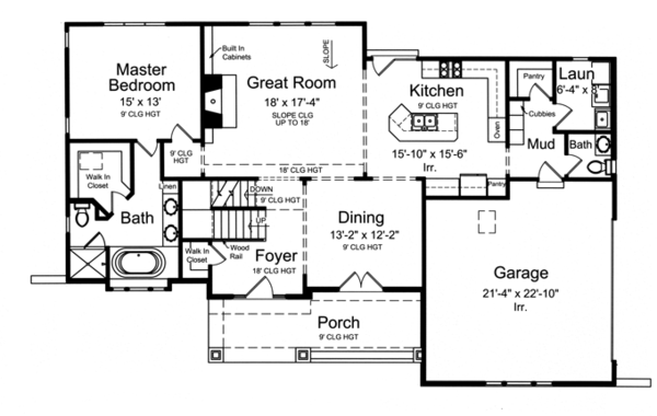 Craftsman Floor Plan - Main Floor Plan Plan #46-830