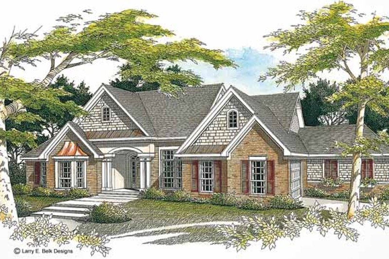 Ranch Exterior - Front Elevation Plan #952-71