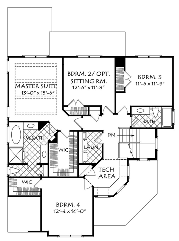 European Floor Plan - Upper Floor Plan Plan #927-979