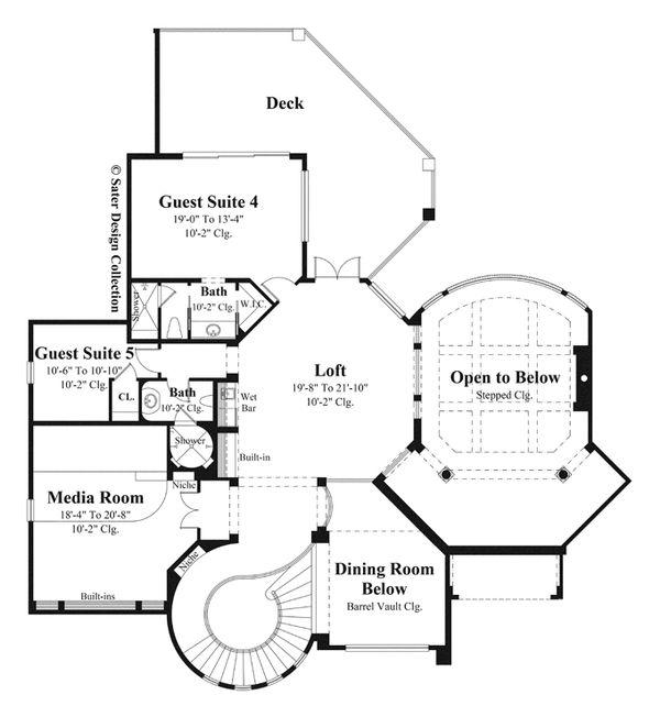 Mediterranean Style House Plan - 5 Beds 6 Baths 6079 Sq/Ft Plan #930-442 Floor Plan - Upper Floor Plan