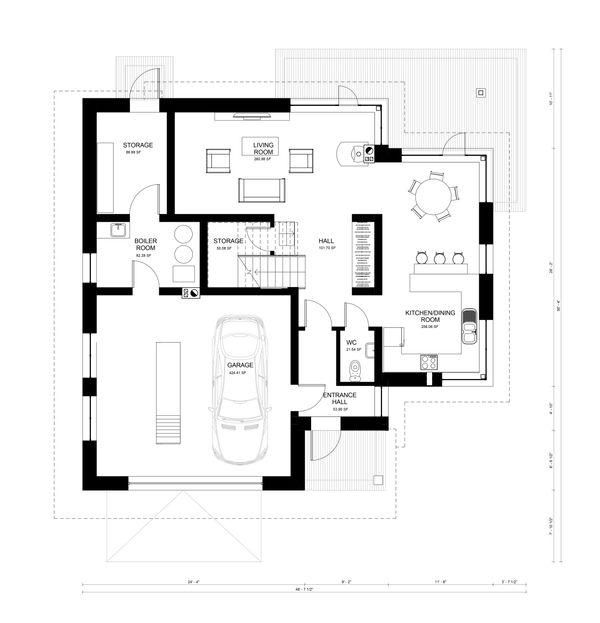 Contemporary Floor Plan - Main Floor Plan Plan #906-16
