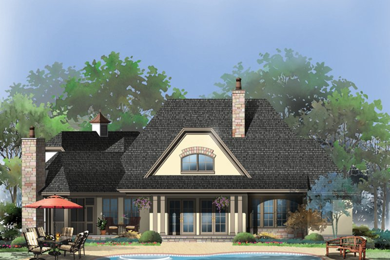 European Exterior - Rear Elevation Plan #929-950 - Houseplans.com