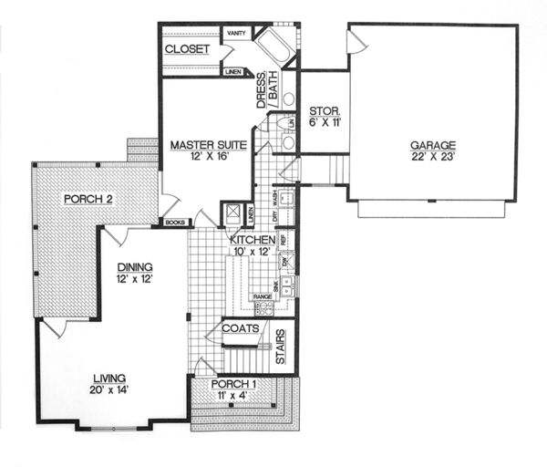 Country Floor Plan - Main Floor Plan Plan #45-399
