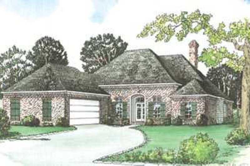 European Style House Plan - 4 Beds 3 Baths 2307 Sq/Ft Plan #15-147 Exterior - Front Elevation