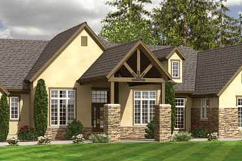 Traditional Exterior - Front Elevation Plan #966-22 - Houseplans.com
