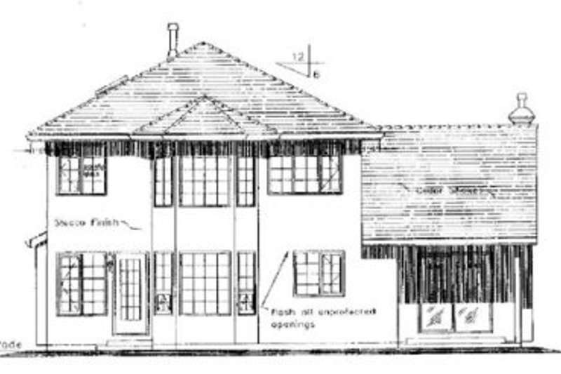 European Exterior - Rear Elevation Plan #18-255 - Houseplans.com